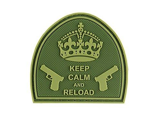 G-Force Keep Calm and Reload PVC Morale Patch, OD Green