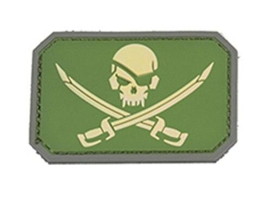 Pirate Cutlass PVC Patch, Green and Yellow