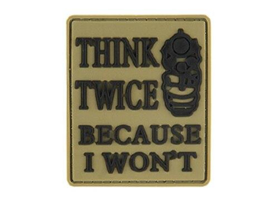 G-Force Think Twice Because I Wont PVC Morale Patch, Tan