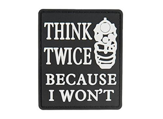 G-Force Think Twice Because I Wont PVC Morale Patch, Black