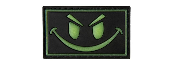 G-Force Glow-In-The-Dark Sinister Smile PVC Morale Patch, Black