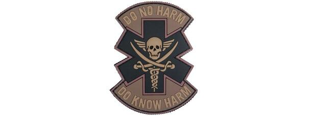 DO NOT HARM PVC Patch, Tan and Black