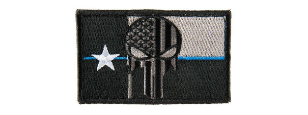 Texas Punisher Embroided Morale Patch, Black