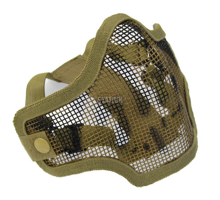 2G Steel Mesh Half Face Mask, Tan w/ Skull - front angled view