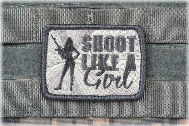 AMS Shoot Like A Girl Patch, Hi-Fidelity Patch Series, Gray