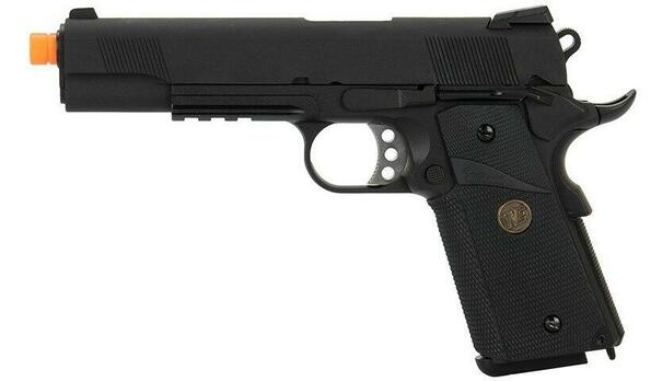 WE Tech 1911 Full Metal MEU Gas Blowback Airsoft Pistol, Black
