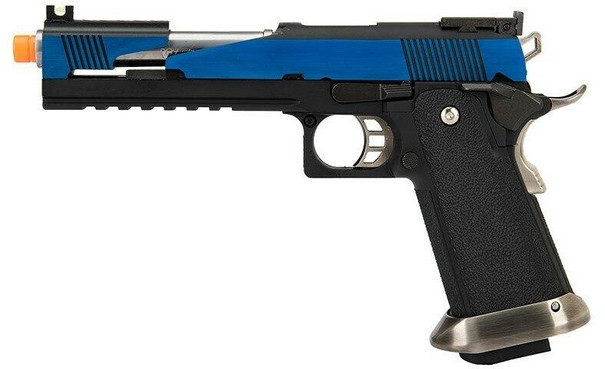 WE Tech 1911 Hi-Capa T-Rex Competition Gas Blowback Airsoft Pistol w/ Top Ports, Blue / Silver