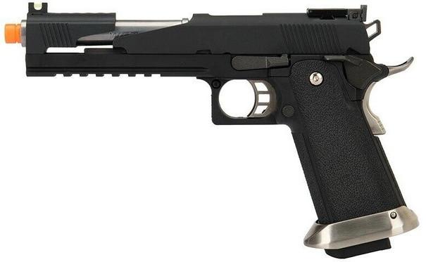WE Tech 1911 Hi-Capa T-Rex Competition Gas Blowback Airsoft Pistol w/ Top Ports, Black / Silver