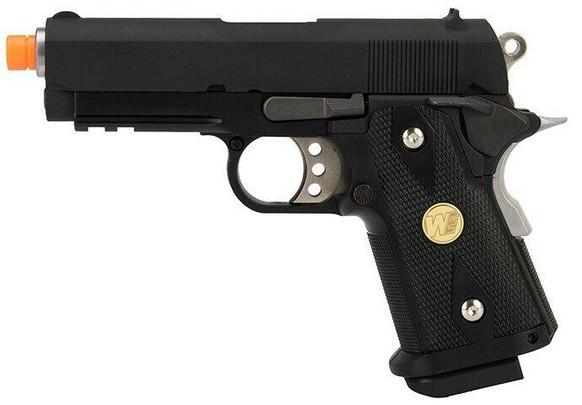 WE Tech 1911 3.8 Baby Hi-Capa Version A Gas Blowback Airsoft Pistol, Black