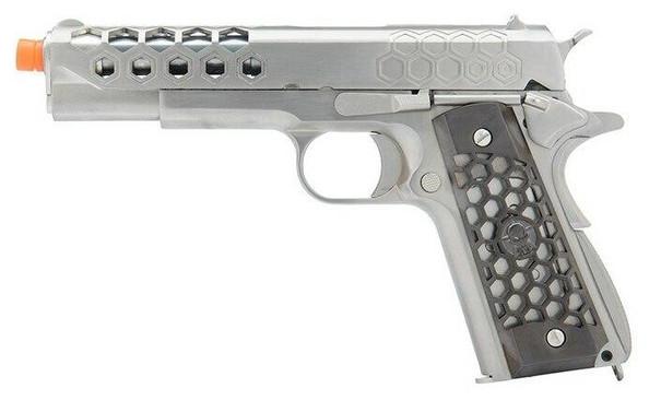 WE Tech 1911 Hex Cut Gen 2 Gas Blowback Airsoft Pistol, Silver