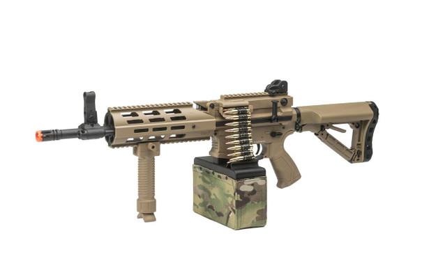 GandG CM16 LMG Airsoft Rifle w/ Tan Mag Cover, Tan