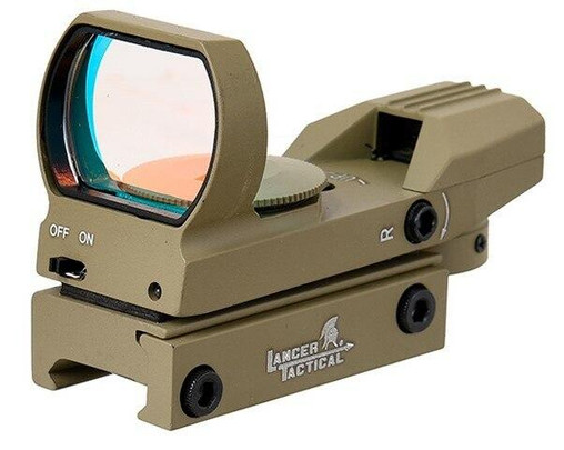 Lancer Tactical 4 Reticle Red Control Reflex Sight, Tan