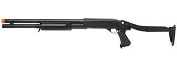 Lancer Tactical Tri-Shot Long Barrel Airsoft Shotgun w/ Folding Stock, Black