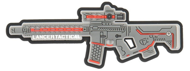 Lancer Tactical LT-34 Rifle PVC Morale Patch, Gray / Red