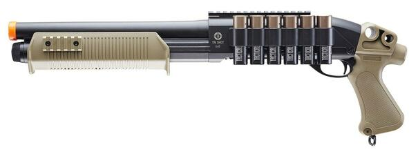 Tactical Force Tri-Shot Airsoft Shotgun, Black / Tan