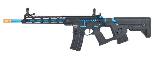Lancer Tactical Enforcer Series BLACKBIRD Skeleton ProLine Low FPS Airsoft Rifle w/ Alpha Stock, Black / Blue
