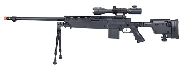 Well MB4407 Bolt Action Airsoft Sniper Rifle w/ Scope and Bipod, Black