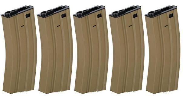 Lancer Tactical Gen 2 Metal 300rd High Capacity M4 Magazine 5-Pack, Tan