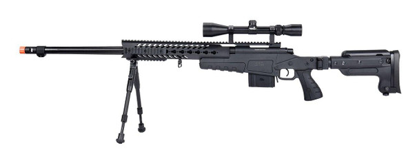 WellFire MB4418-3 Bolt Action Airsoft Sniper Rifle w/ Scope and Bipod, Black