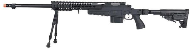 WellFire MB4418-1 Bolt Action Airsoft Sniper Rifle w/ Bipod, Black