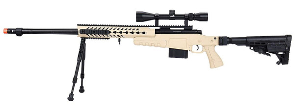 WellFire MB4418-1 Bolt Action Airsoft Sniper Rifle w/ Scope and Bipod, Tan