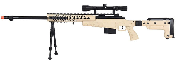 WellFire MB4418-3 Bolt Action Airsoft Sniper Rifle w/ Scope and Bipod, Tan