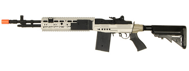 CYMA M14 EBR RIS Crane Stock Full Metal Silver Airsoft Rifle
