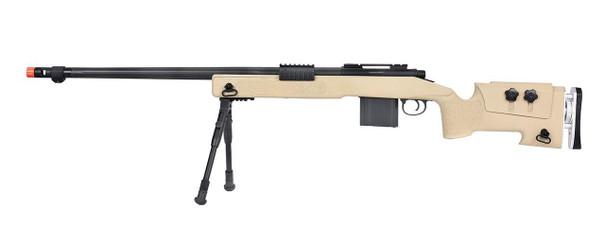 WellFire MB4417 M40A3 Bolt Action Airsoft Sniper Rifle w/ Bipod, Tan