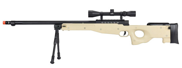 WellFire MB15 L96 Bolt Action Airsoft Sniper Rifle w/ Scope and Bipod, Tan