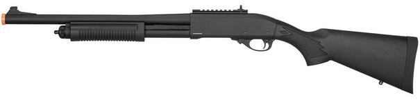 Golden Eagle M870 3/6-Shot Pump Action Gas Airsoft Shotgun, Black