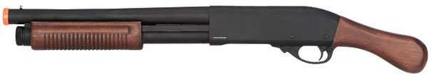 Golden Eagle M870 3/6-Shot Pump Action Sawed-Off Gas Airsoft Shotgun, Black / Wood