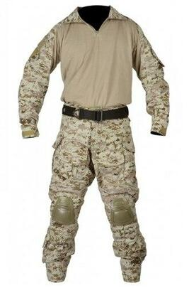 Jagun Tactical Airsoft Combat Uniform BDU Pants and Shirt Set, Digital Desert