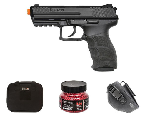 HandK P30 Electric Airsoft Pistol Gift Package w/ Holster, Gun Case and BBs
