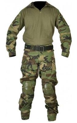Jagun Tactical Airsoft Combat Uniform BDU Pants and Shirt Set, Woodland Camo