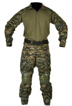 Jagun Tactical Airsoft Combat Uniform BDU Pants and Shirt Set, Jungle Digital