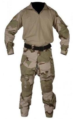 Jagun Tactical Airsoft Combat Uniform BDU Pants and Shirt Set, Desert Tri-Color