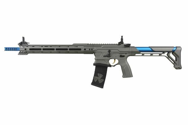 GandG BAMF Team Cobalt Kinetics M4 Advanced ETU Airsoft Rifle, Grey / Blue