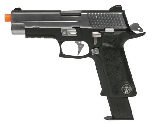 WE Tech P-Virus Two-Tone Gas Blowback Airsoft Pistol, Black / Silver