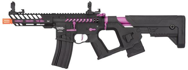 Lancer Tactical Enforcer Series NEEDLETAIL High FPS AEG Airsoft Rifle w/ Alpha Stock, Black / Purple