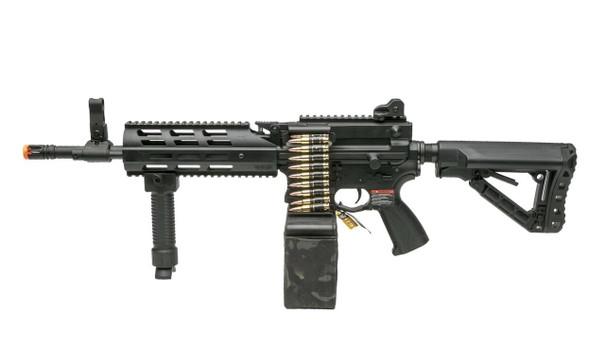 GandG CM16 LMG Airsoft Rifle w/ Camo Mag Cover, Black