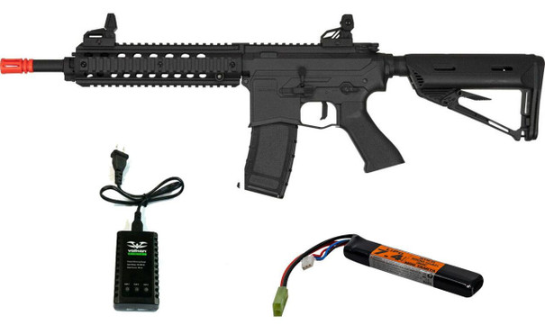 Valken ASL Series AEG Airsoft Rifle MOD-M, Black w/ LiPO Battery and Charger