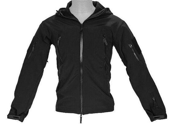Lancer Tactical Soft Shell Jacket w/ Hood, Black