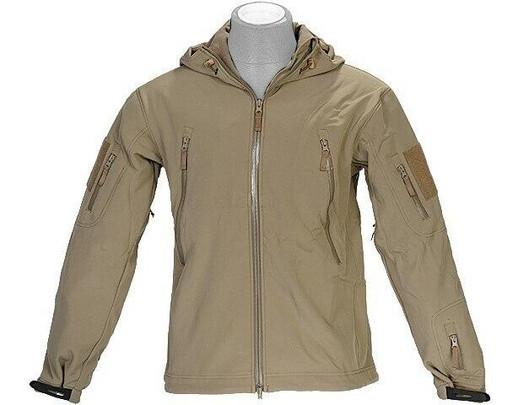 Lancer Tactical Soft Shell Jacket w/ Hood, Tan
