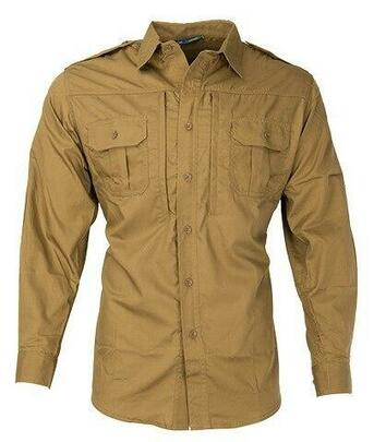 Propper Ripstop Reinforced Tactical Long Sleeve Shirt, Coyote Brown