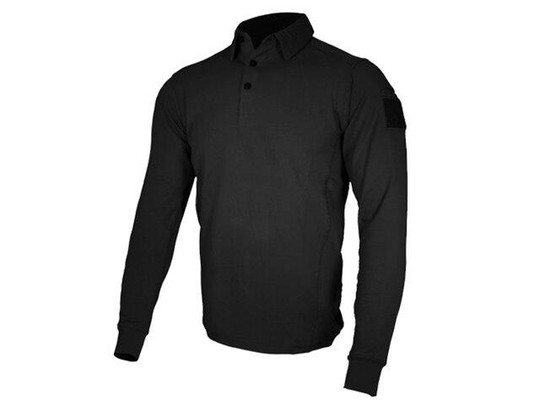 Cannae Professional Operator Long Sleeve Spandex Polo Shirt, Black