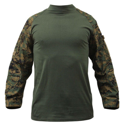 Rothco Military Combat Shirt w/ Reinforced Elbows, Woodland