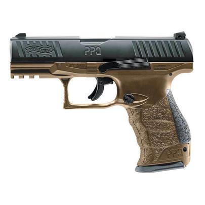 Umarex T4E Walther PPQ .43 Cal Co2 Blowback Paintball Pistol, Black / Tan