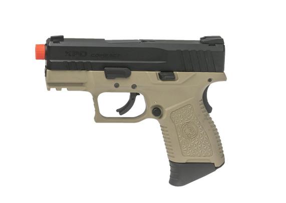 ASG XPD Compact Gas Blowback Airsoft Pistol, Tan / Black