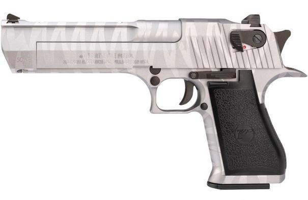 We-Tech Magnum Research Desert Eagle .50 AE Gas Blowback Pistol, Silver Tigerstripe