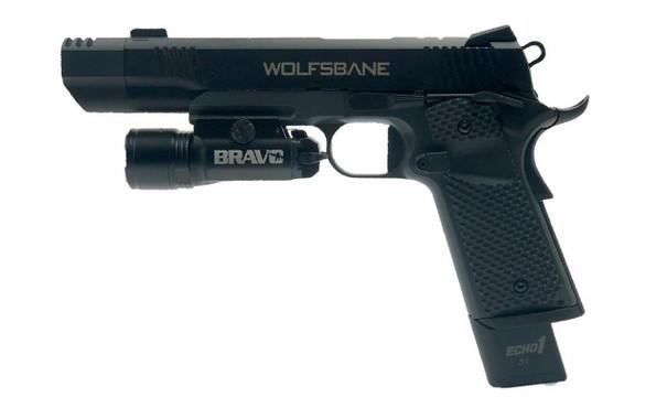 Echo1 Wolfsbane Gas Airsoft Pistol with Bravo STL800 Flashlight Combo, Black